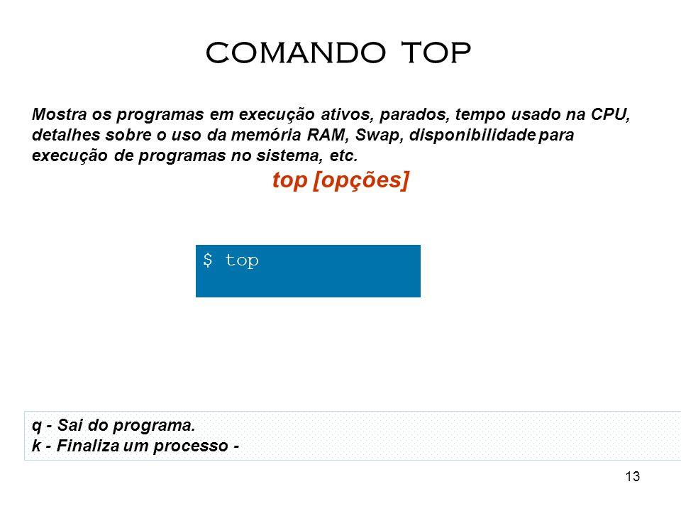 COMANDO TOP top [opções] $ top